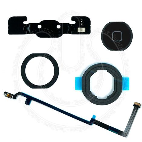 Black Home Button Flex with Rubber Gasket Adhesive Bracket Full Set for Apple iPad Air