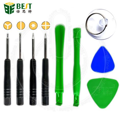 BEST Mobile Phone Opening Tool Kit 9 in 1 set with 0.6 Tripoint , Torx, Phillips, Flat Screwdrivers and Suction Cup for Repair iPhone 7 iPhone 8 iPhone X and others