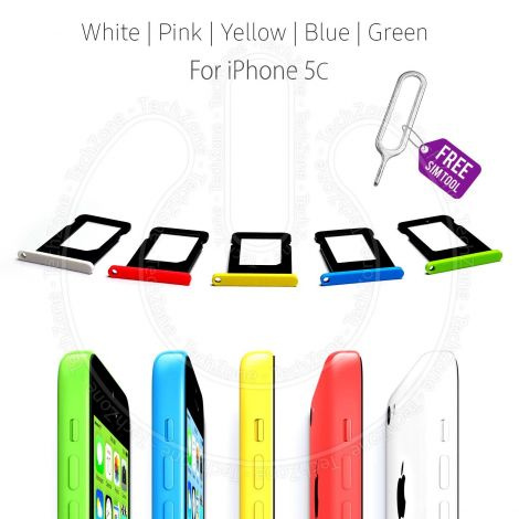 Nano Sim Card Holder Tray Slot for Apple iPhone 5c A1507 A1529 A1532 A1456 + Sim Ejector Tool