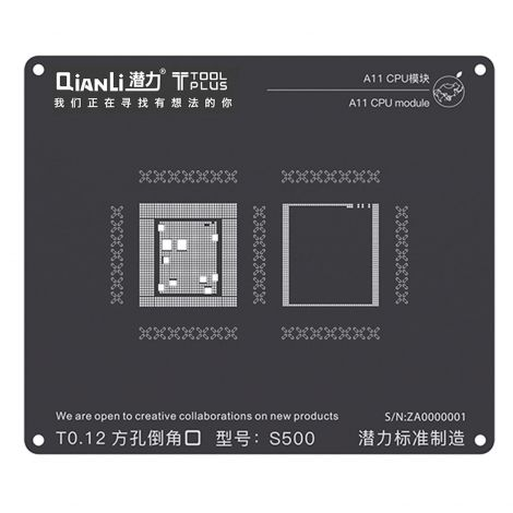 QianLi ToolPlus Black Direct Heat Stencil for iPhone & iPad A11 CPU Module