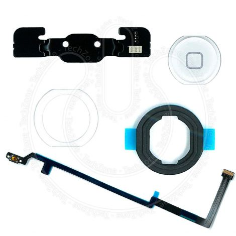 White Home Button Flex with Rubber Gasket Adhesive Bracket Full Set for Apple iPad Air