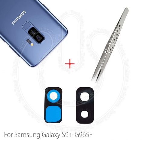 Rear Back Camera Glass Lens Frame Cover with Adhesive for Samsung Galaxy S9 Plus SM-G965  + Tweezer Tool