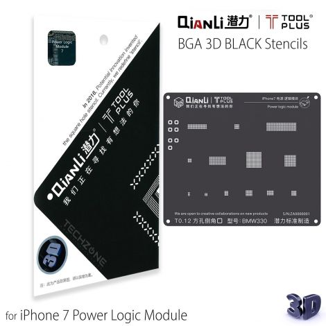QianLi ToolPlus 3D Black Direct Heat Stencil for iPhone 7 Power Logic Module