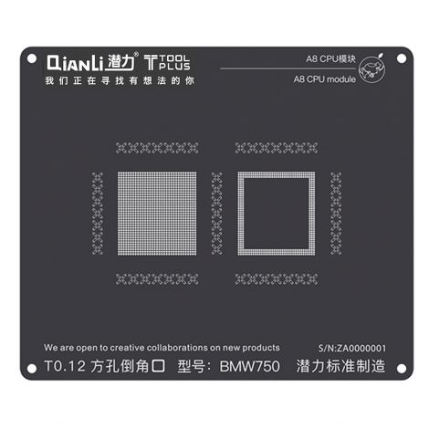 QianLi ToolPlus Black Direct Heat Stencil for iPhone & iPad A8 CPU Module