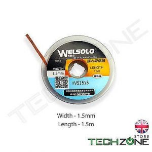 WELSOLO Desolder Desoldering Braid Wick Wire Mop Solder Sucker Fluxed Remover -  Width 1.5mm