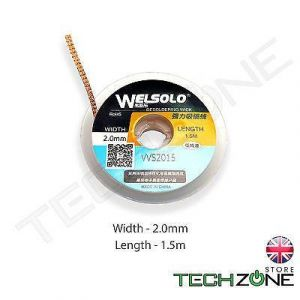WELSOLO Desolder Desoldering Braid Wick Wire Mop Solder Sucker Fluxed Remover  -  Width 2.0mm