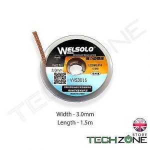 WELSOLO Desolder Desoldering Braid Wick Wire Mop Solder Sucker Fluxed Remover -  Width 3.0mm